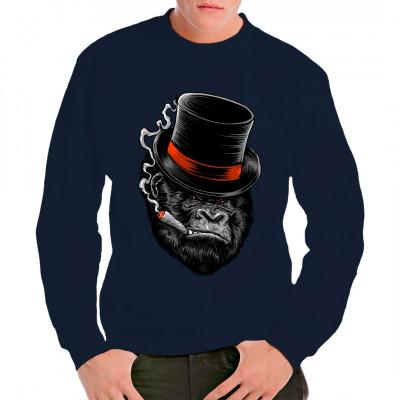 Grimmiger Gorilla mit Zylinder und Zigarre als oversize print für dein Shirt, ideal als Geschenk