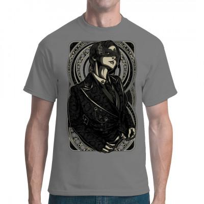 Maskierter Mann im Manga Comic Style als waschfester Digital Direktdruck für dein T-Shirt, Sweatshirt oder V-Neck