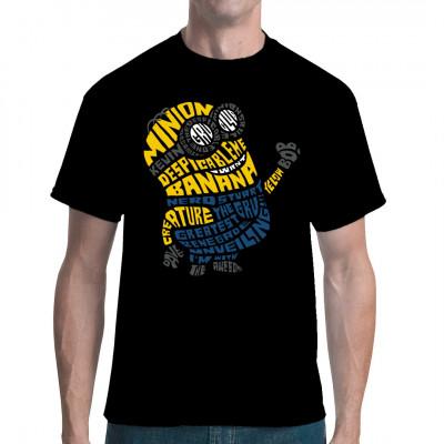 Kleiner knuffiger Schurkenhelfer aus blauer und gelber Schrift zusammen gesetzt. Witziges Comic-Motiv für dein Shirt  Mittels Digital-Direktdruck aufgebracht. waschfest