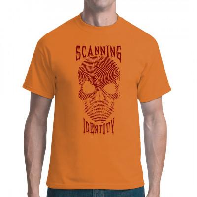 Die neue Form der Biometrie: Statt Fingerabdruck wird jetzt gleich der ganze Schädel gescannt. Registrierte und überwachte Bürger lassen sich leichter regieren und kontrollieren. Dystopisches Motiv für dein Shirt