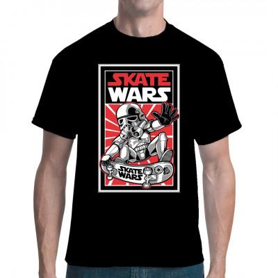 Stormtrooper auf Skateboard als Shirt Motiv für Sci-Fi Fans.