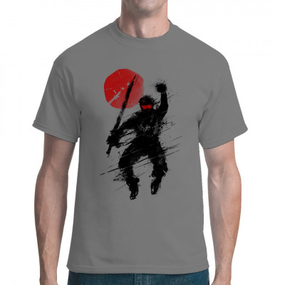 Springender Ninja mit gezücktem Schwert vor roter Sonne. Cooles Nippon-Style Motiv für dein T-Shirt, Sweatshirt oder V-Neck