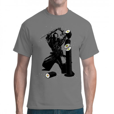 Samurai, der ein Maki-Sushi mit seinem Katana zerhackt als Shirt-Aufdruck