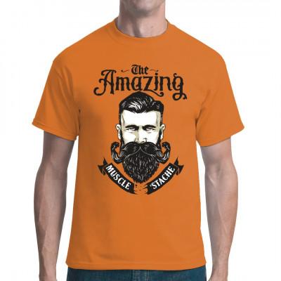 Muskulöser Schnauzbart als Fun Shirt für Bartträger und -fans.