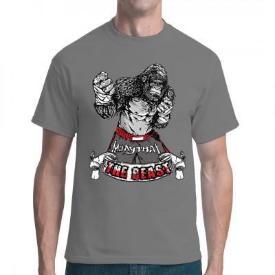 Gorilla im Muay Thai - Outfit als Print für Dein Shirt.