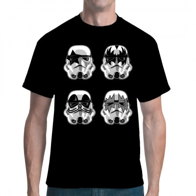 Diese imperialen Sturmtruppen haben ein recht interessantes Freizeitvergnügen: Sie malen sich die Helme an und spielen in einer KISS Coverband. Cooles Sci-Fi Rock Crossover Shirt