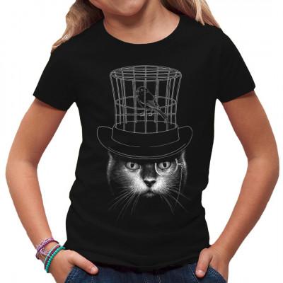 Under My Hat Shirtmotiv mit Katze, Zauberzylinder und Kanarienvogel