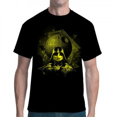 Katze mit Darth Vader Outfit und Todesstern als waschfester Digital-Direktdruck für dein T-Shirt, Sweatshirt oder V-Neck. Motivvariante: Gelb