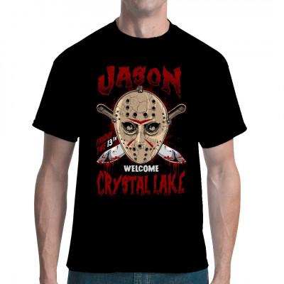 Crystal Lake  Motivshirt mit Jason Maske und 2 Messern. Der Hingucker für jede Horrorparty
