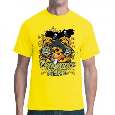 Shirtmotiv mit Piratenschädel, Zombieaffen und Piratenflagge, Rankenmuster