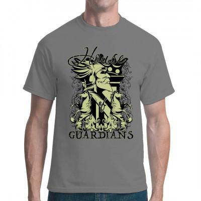 Heroischer König mit geflügeltem Helm und Pferden, Rankenmuster Episches Fantasy - Motiv für dein Shirt, in vielen Größen und Farben erhältlich