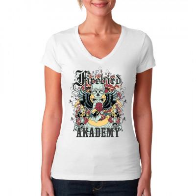 Firebird Akademy  Totenkopf mit Greifvogel, Laternen, Feueruntergrund und Blumenmuster