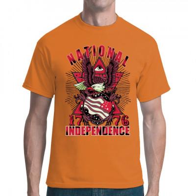 Mach dich frei - mach dich unabhängig! Motivshirt mit Adler, USA Flagge und Allsehendem Auge.