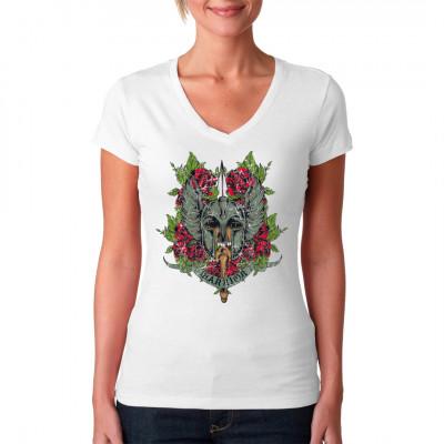 """Schädel mit geflügeltem Gladiatorenhelm, Blumenornamenten und Aufschrift """"WARRIOR"""" Farbintensives Gothic Krieger Motiv für dein Shirt, erhältlich in vielen Größen und Farben"""