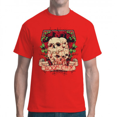 """Teilweise zerbrochene Totenköpfe, von Ranken überwuchert, mit der Aufschrift """"Doom City"""" Düsters Gothic - Motiv für dein T-Shirt, Sweatshirt oder V-Neck"""