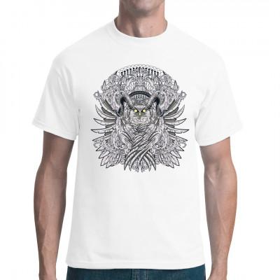 Mysteriöse Eule mit Widderhörnern, um geben von Ornamenten Tolles Mystik - Motiv für Dein Shirt