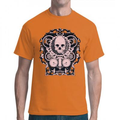 Mechanical Skull  Totenkopf mit Tachoanzeige, Ketten und Rädern, Rankenmuster