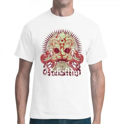 Hypnotic Rebellion  Hypnotisches Gesicht mit Feuerkrone, drittem Auge und Schlangen