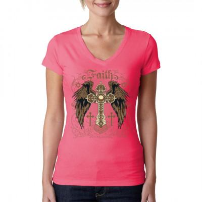 Faith - Winged Cross Kreuz mit Engelsflügeln. Religiöses Motiv für Dein Shirt.