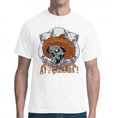 Ay, Caramba! Der typische Leitspruch der Mexikaner, unter anderem bekannt von der Comicfigur Bart Simpson nun auch auf Ihrem Shirt.  Totenschädel mit Sombrero-Hut, Revolvern und Blumenmuster