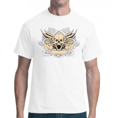 Eagle Skull Geflügelter Totenkopf mit Adlerköpfen und Rankenmuster  Cooles Biker Motiv für Dein T-Shirt, Sweatshirt oder V-Neck