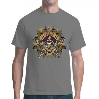 Totenkopf mit Polizeimütze, Marke, Sheriff-Stern und Blattmotiven Zeige deinen Freunden, wer der Chef im Saloon ist.  Cooler Schädel Print für dein Shirt