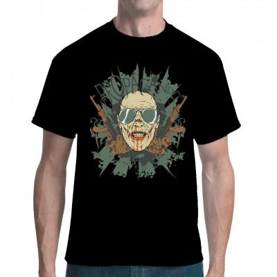 """Kopf mit Sonnenbrille, Kalaschnikows und Rankenhintergrund mit Aufschrift """"Propaganda"""" Cooles Revolution Style Shirt"""