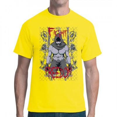 Fight Freedom - Kämpfe für Freiheit Shirt mit muskulöser Straßenkämpfer Figur, Ketten und Pflanzen Cooles Shirt Motiv für alle Gladiatoren Fans