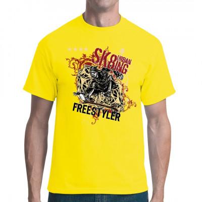Urban Sk8ting Der Tod auf dem Skateboard auf Geflechthintergrund, Ranken Cooles Shirt Motiv für alle Freestyle Skater