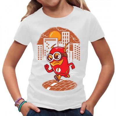 Der kleine Barry Minion ist einem defekten Teilchenbeschleuniger zu nahe gekommen. Jetzt rennt er wie ein Blitz und bekämpft das Verbrechen. Superhelden Comic Motiv für dein Shirt