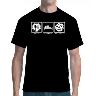 Fun Shirt für alle aktiven Volleyballspieler: Raus aus den Federn, ein leichtes Frühstück einwerfen und ab ans Netz.