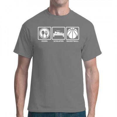 Fun Shirt für alle aktiven Basketballspieler: Raus aus den Federn, ein leichtes Frühstück einwerfen und ab auf den Platz. Lieber Körbe werfen als Körbe kassieren.