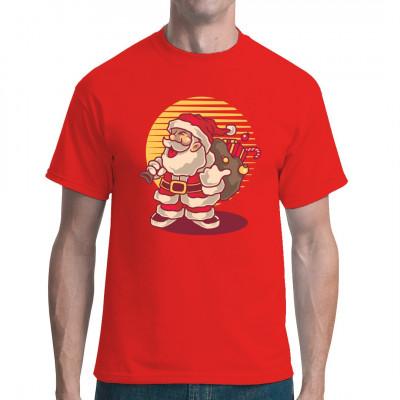 Santa Claus als winterliches Shirt-Motiv in kräftigen Farben