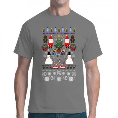 Hol dir unser tolles Weihnachts - Shirt in vintage 8Bit Optik, mit extragroßen Pixeln.