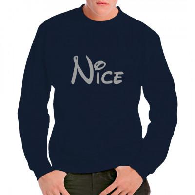 """Schriftzug """"Nice"""" im Stil eines amerikanischen Zeichentrick-Imperiums als qualitativ hochwertiger Druck für dein T-Shirt, Sweatshirt oder V-Neck. Mittels Flexdruck aufgebracht. waschfest"""