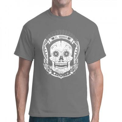 Cooles Biker Totenkopf Motiv für dein T-Shirt, Sweatshirt oder V-Neck  Mittels Digital-Direktdruck aufgebracht. waschfest