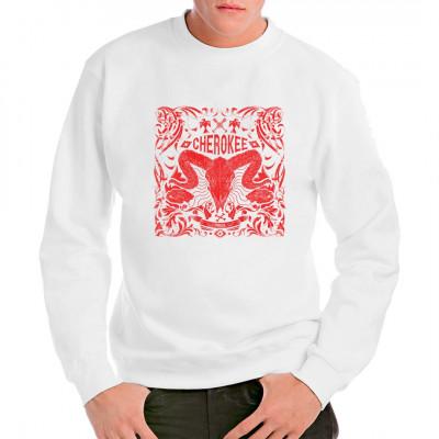 Tribal Style Rinderschädel als cooles Fashion-Motiv für dein T-Shirt, Sweatshirt oder V-Neck  Mittels Digital-Direktdruck aufgebracht. waschfest