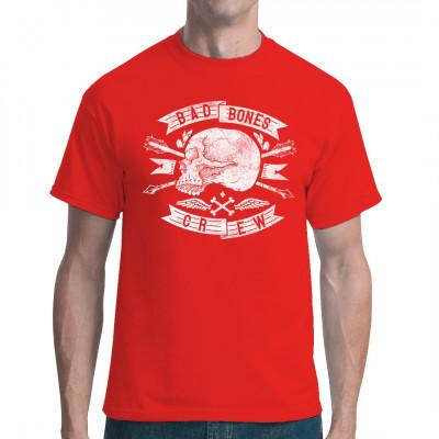 Shirt Motiv: Bad Bones Crew Cooles Biker Shirt Motiv mit einem Totenschädel und Pfeilen  Holt euch das Motiv für eure Motorad Crew! Dieses Motiv passt zu allen Bikern