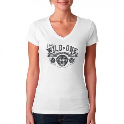 The Wild One - Never have been tamed!  Biker Shirt Motiv mit Raubtierfängen im Tattoo Style