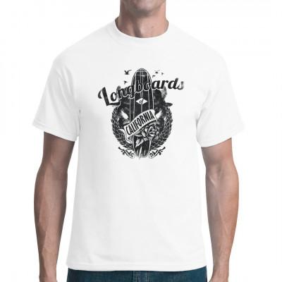 Longboard Shirt von ImShirt aus deutscher Produktion. Tolles Geschenk, Sommershirt, Fun Spass Sommer, Wellen Strand Sonne Spaß