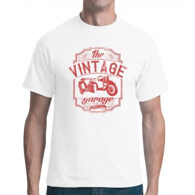 Biker Shirt Motiv mit einem Oldtimer Motorrad mit Beiwagen. Cooler Vintage Look für dein T-Shirt, Sweatshirt oder V-Neck.  Mittels Digital-Direktdruck aufgebracht. waschfest