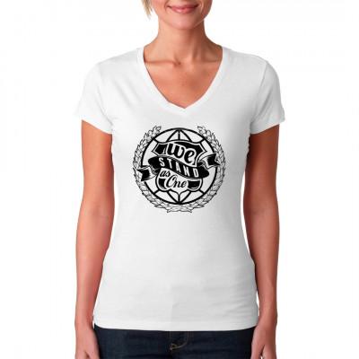 Shirt-Motiv: We Stand As One Stilisierte Weltkugel mit Lorbeerkranz Mittels Digital-Direktdruck aufgebracht. waschfest
