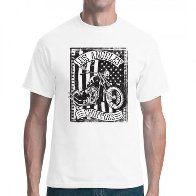 Vintage Chopper vor einer US Flagge. Cooles Biker Motiv für dein Shirt.