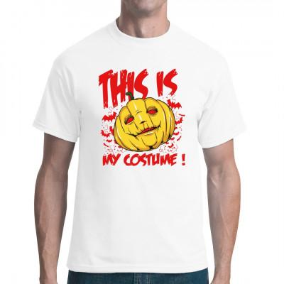 Geschnitzter gruseliger Kürbiskopf mit Fledermäusen als Kostüm für Halloween. Das ideale Shirt für alle, die auf der Halloween-Party nicht ganz ohne Kostüm dastehen wollen, aber andererseits auch keine Zeit und Nerven investieren wollen.