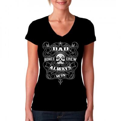 Die Bad Bones Crew gewinnt immer! Biker Motiv für dein T-Shirt, Sweatshirt oder V-Neck
