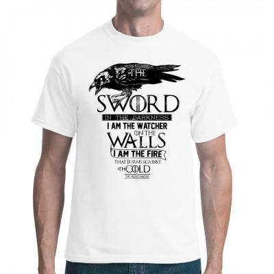 Schwerter, Wächter der Nacht ein bedrucktes Designer Shirt für eingefleischte  Fans der Unterhaltung. Tolles T-Shirt zum verschenken.