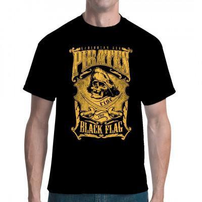 Cooles Totenschädel Piraten Motiv für dein T-Shirt, Sweatshirt oder V-Neck.  Mittels Digital-Direktdruck aufgebracht. waschfest