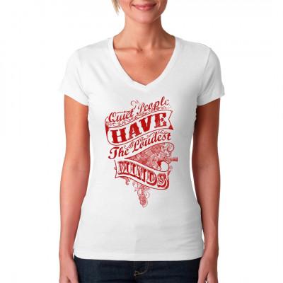 Fashion Spruch Shirt: Quiet people have the loudest minds.  Mittels Digital-Direktdruck aufgebracht. waschfest