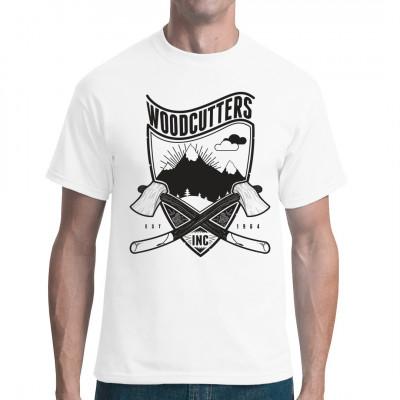 Hipster Style Shirt Motiv im Holzfäller-Look mit Äxten  Mittels Digital-Direktdruck aufgebracht. waschfest
