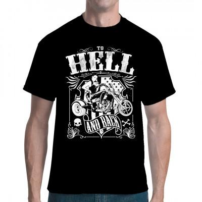 Biker Shirt: To Hell And Back Heißes Pin Up Girl auf einem Trike